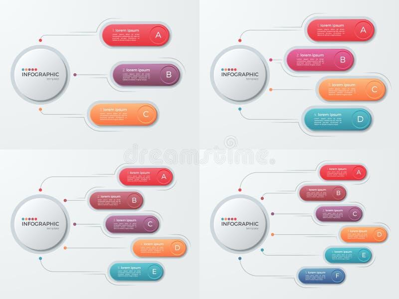 Σύνολο επιχειρησιακών infographic προτύπων παρουσίασης με το opti 3-6 απεικόνιση αποθεμάτων