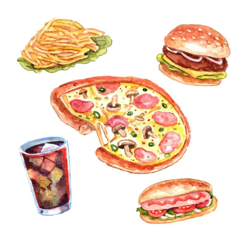 Σύνολο επιλογών μεσημεριανού γεύματος γρήγορου φαγητού Watercolor ελεύθερη απεικόνιση δικαιώματος