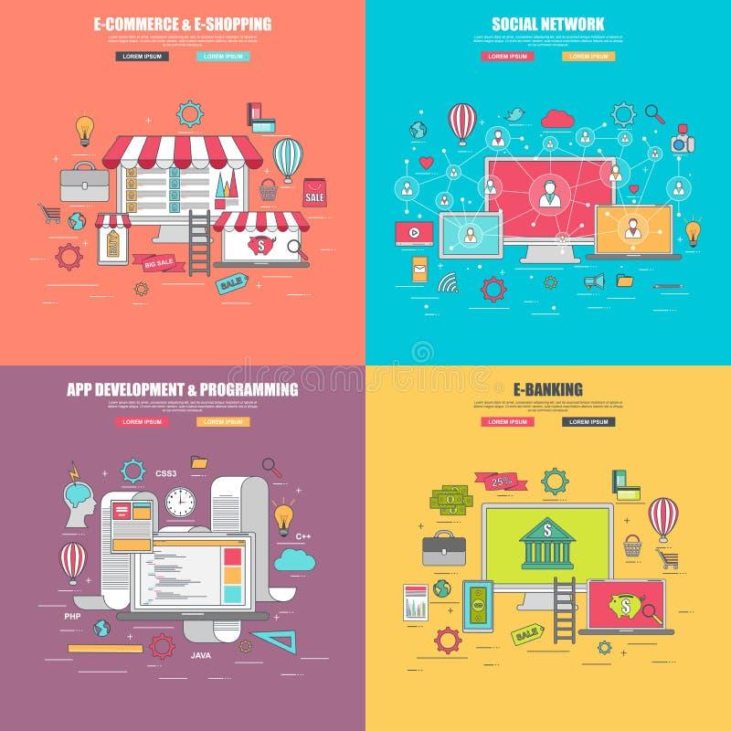 Σύνολο λεπτής έννοιας σχεδίου γραμμών 4 επίπεδης για το κοινωνικό δίκτυο, ηλεκτρονικό εμπόριο υπηρεσιών μέσων Διαδικτύου ελεύθερη απεικόνιση δικαιώματος