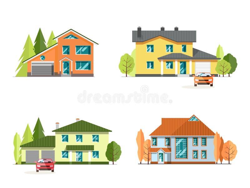 Σύνολο λεπτομερών ζωηρόχρωμων σπιτιών εξοχικών σπιτιών Οικογενειακή κατοικία Επίπεδα σύγχρονα κτήρια ύφους διανυσματική απεικόνιση