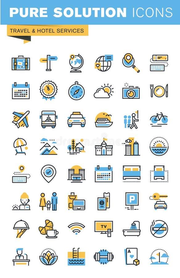 Σύνολο λεπτών εικονιδίων σχεδίου γραμμών επίπεδων των υπηρεσιών ταξιδιού και ξενοδοχείων ελεύθερη απεικόνιση δικαιώματος