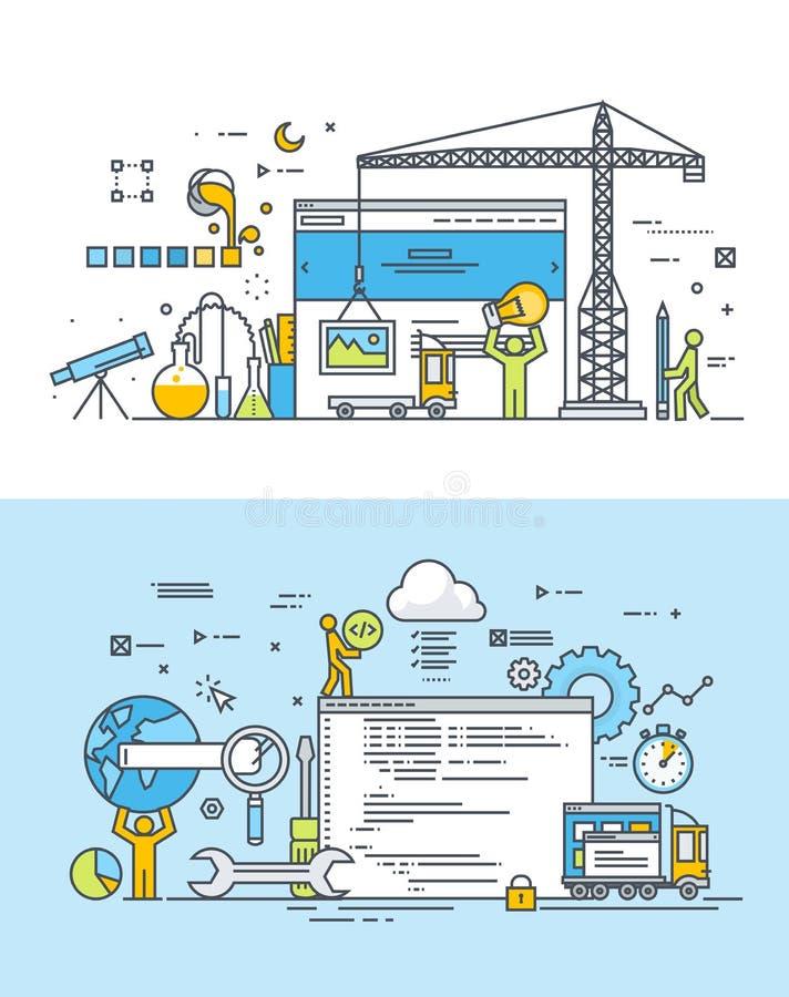 Σύνολο λεπτών εννοιών σχεδίου γραμμών επίπεδων του σχεδίου και της ανάπτυξης ιστοχώρου διανυσματική απεικόνιση