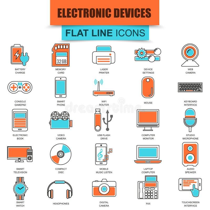 Σύνολο λεπτών συσκευών ηλεκτρονικής και πολυμέσων υπολογιστών εικονιδίων γραμμών απεικόνιση αποθεμάτων