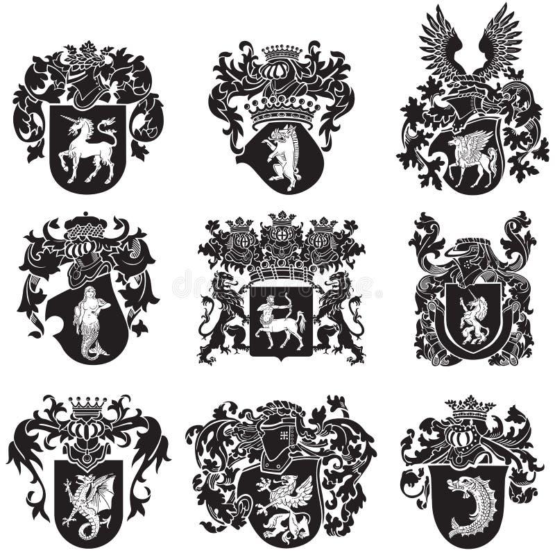 Σύνολο εραλδικών σκιαγραφιών No5 απεικόνιση αποθεμάτων