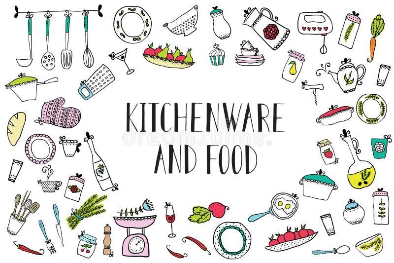 Σύνολο εργαλείων και τροφίμων κουζινών Στοιχεία σχεδίου της κουζίνας απεικόνιση αποθεμάτων