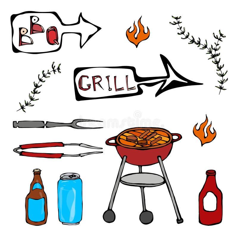 Σύνολο εργαλείων σχαρών: BBQ το δίκρανο, λαβίδες, σχάρα με το κρέας, πυρκαγιά, μπουκάλι μπύρας, μπορεί, κέτσαπ, χορτάρια η ανασκό διανυσματική απεικόνιση
