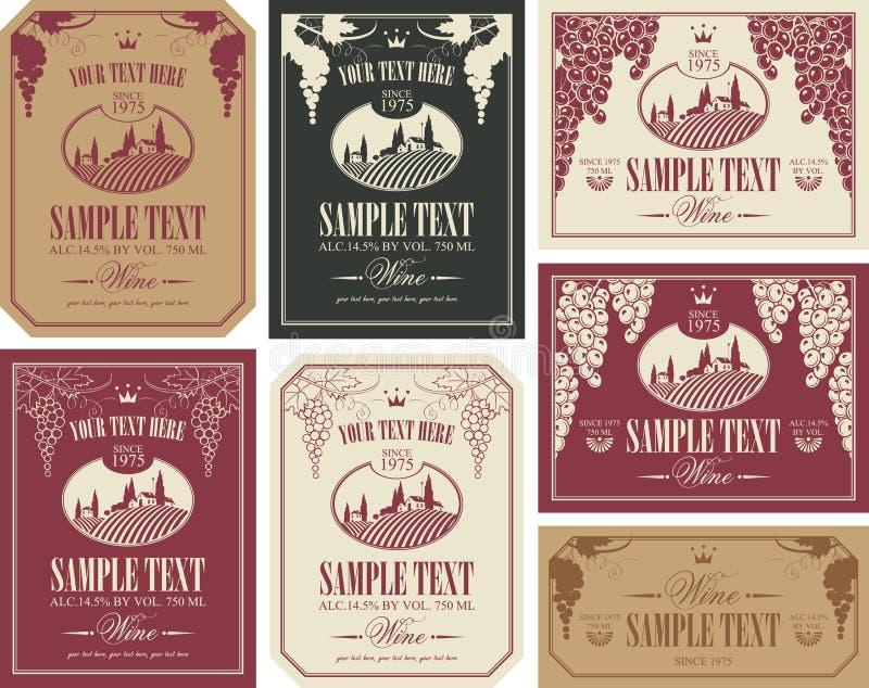 Σύνολο ετικετών κρασιού απεικόνιση αποθεμάτων