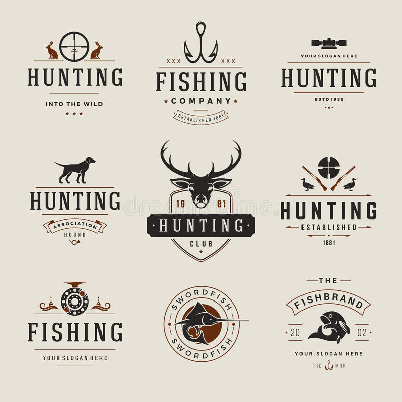 Σύνολο ετικετών κυνηγιού και αλιείας, διακριτικά, λογότυπα διανυσματική απεικόνιση