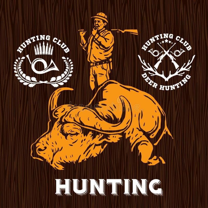 Σύνολο ετικετών κυνηγιού στο ξύλινο bakground ελεύθερη απεικόνιση δικαιώματος