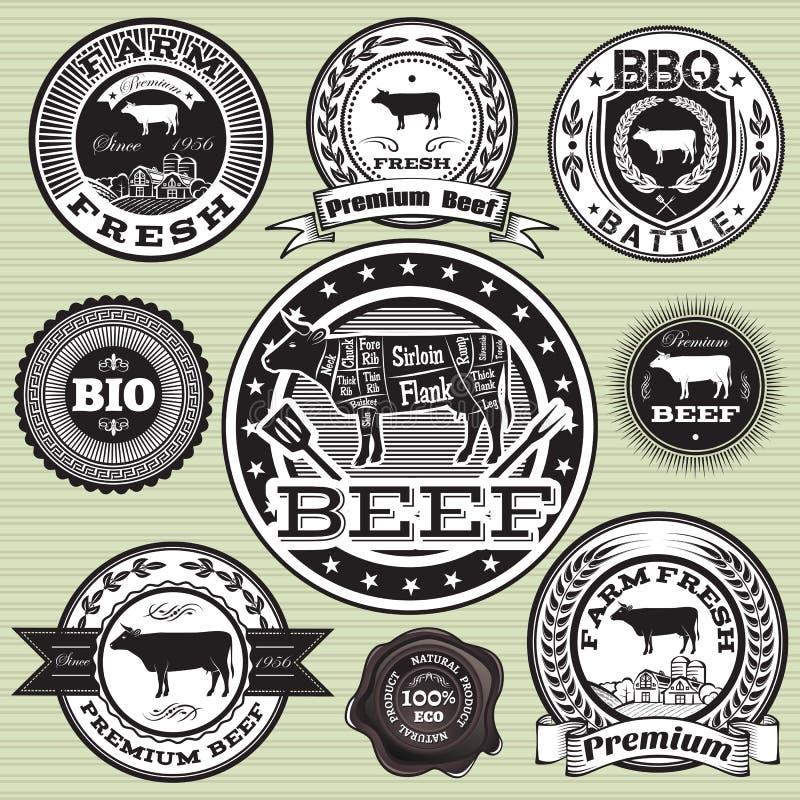 Σύνολο ετικετών με την αγελάδα και το βόειο κρέας απεικόνιση αποθεμάτων