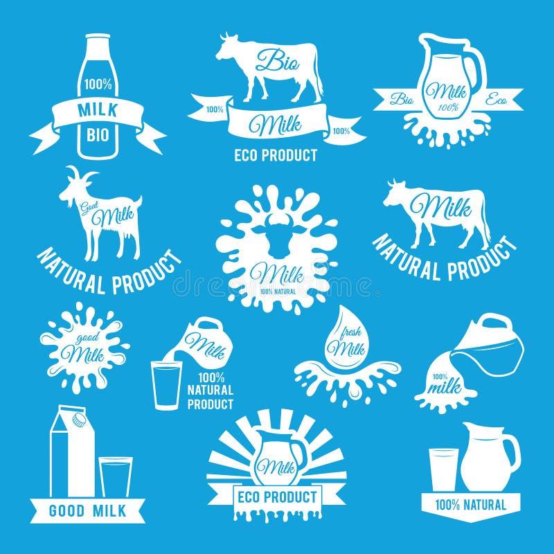 Σύνολο ετικετών φρέσκου γάλακτος Διανυσματικές απεικονίσεις για το σχέδιο αγροτικών λογότυπων απεικόνιση αποθεμάτων