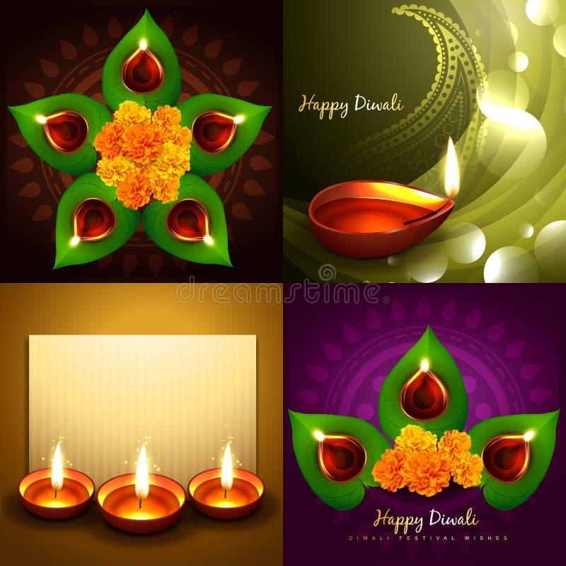 Σύνολο ευτυχούς απεικόνισης υποβάθρου diya diwali ελεύθερη απεικόνιση δικαιώματος