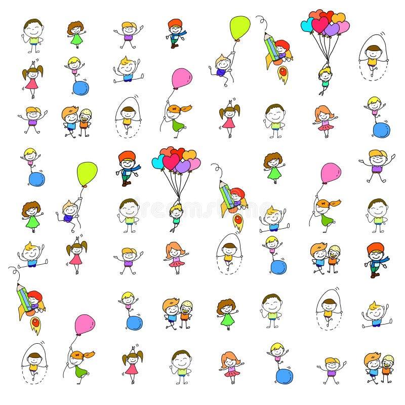 Σύνολο ευτυχούς παιχνιδιού παιδιών κινούμενων σχεδίων σχεδίων χεριών διανυσματική απεικόνιση