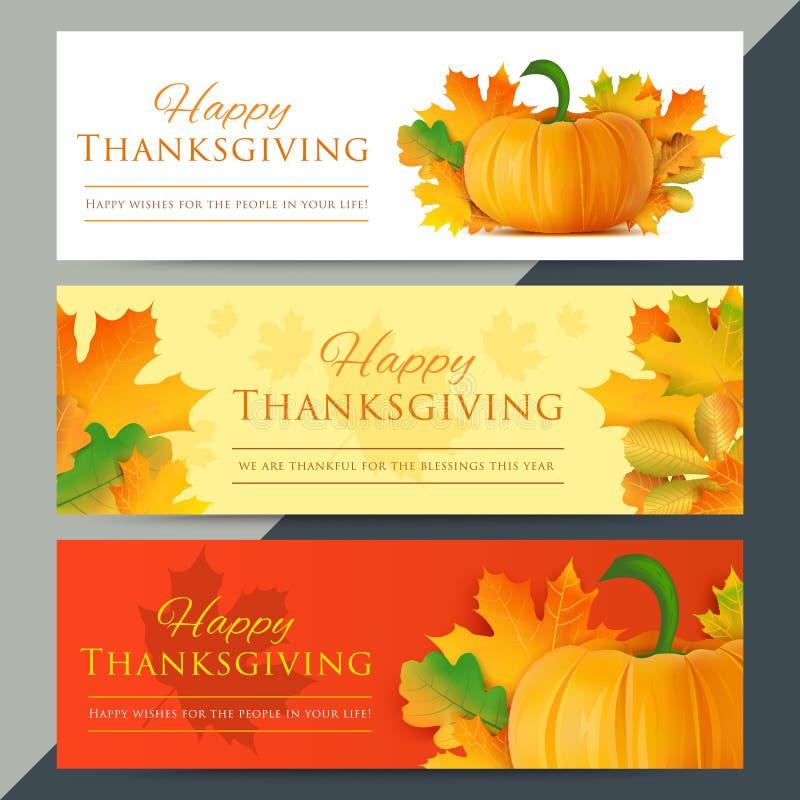 Σύνολο ευτυχών εμβλημάτων Ιστού ημέρας των ευχαριστιών Διάνυσμα διακοπών φθινοπώρου απεικόνιση αποθεμάτων