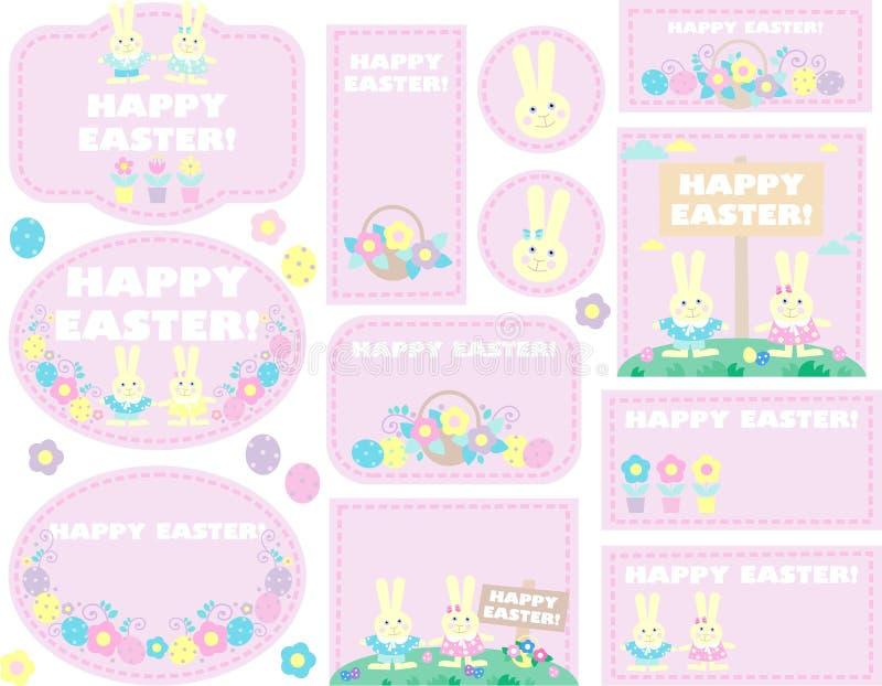 Ετικέττες με τα αυγά Πάσχας, κουνέλια διανυσματική απεικόνιση