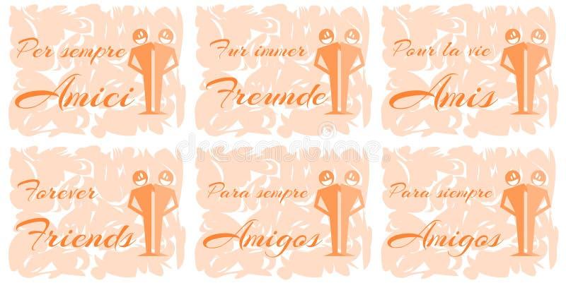 Σύνολο ευχετήριων καρτών για τη φιλία απεικόνιση αποθεμάτων