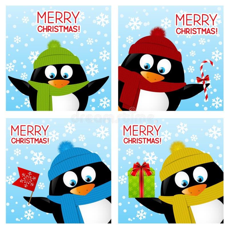 Σύνολο ευχετήριων καρτών Χριστουγέννων διανυσματική απεικόνιση