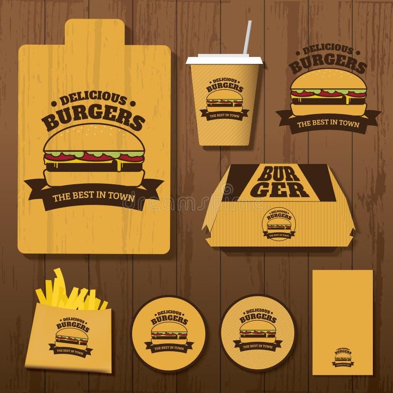 Σύνολο εύγευστης εταιρικής ταυτότητας Burgers στοκ φωτογραφία με δικαίωμα ελεύθερης χρήσης