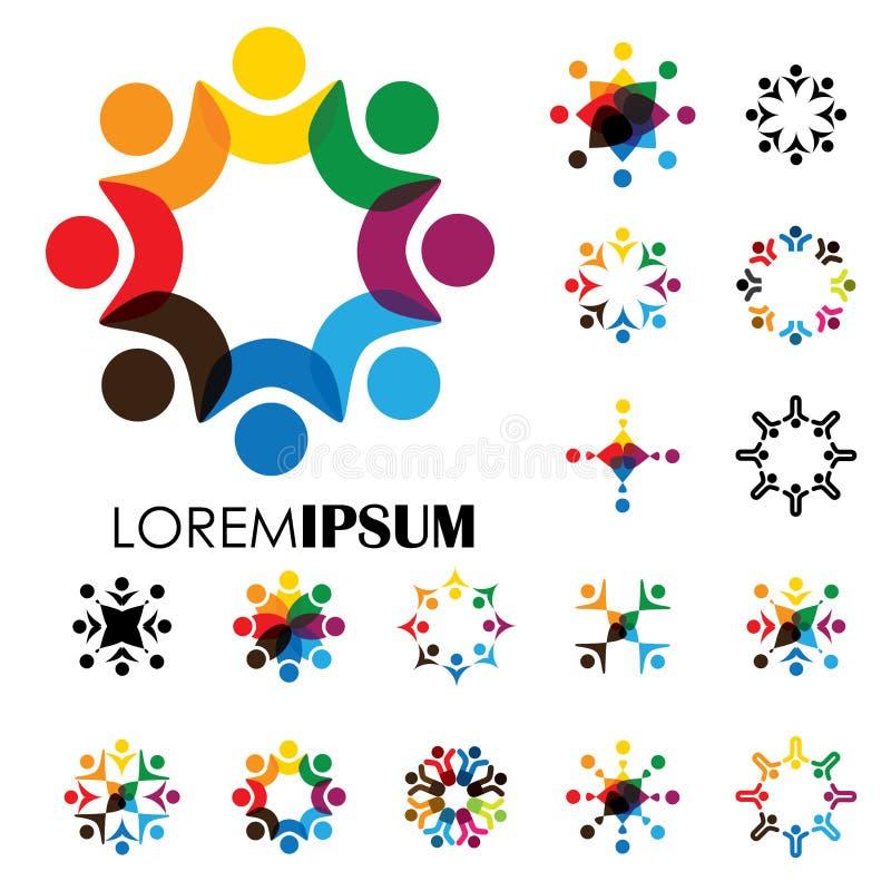 Σύνολο ζωηρόχρωμης, αφηρημένης γραφικής παράστασης ανθρώπων μαζί - διανυσματικό λογότυπο απεικόνιση αποθεμάτων