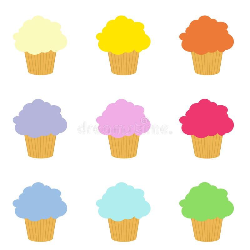 Σύνολο ζωηρόχρωμης τέχνης συνδετήρων cupcakes στοκ φωτογραφίες με δικαίωμα ελεύθερης χρήσης