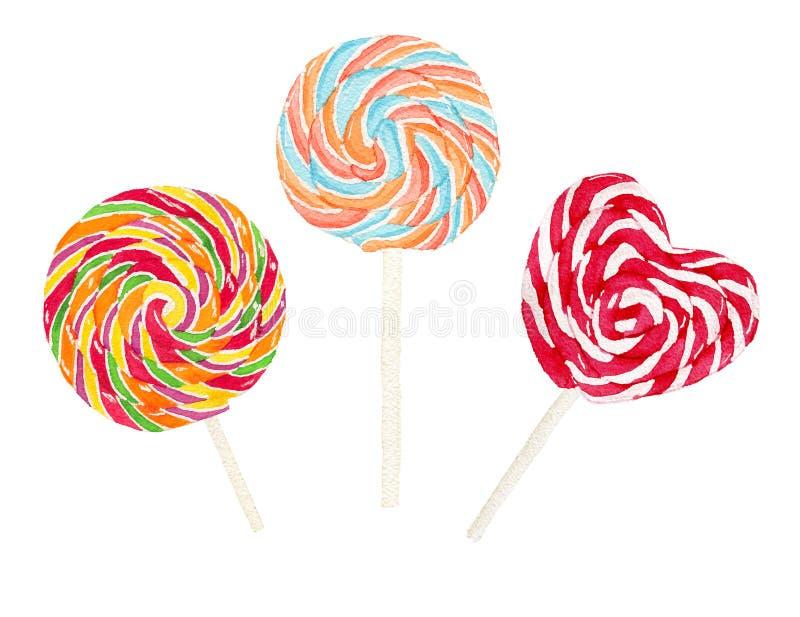 Σύνολο ζωηρόχρωμου iollipop watercolor απεικόνιση αποθεμάτων