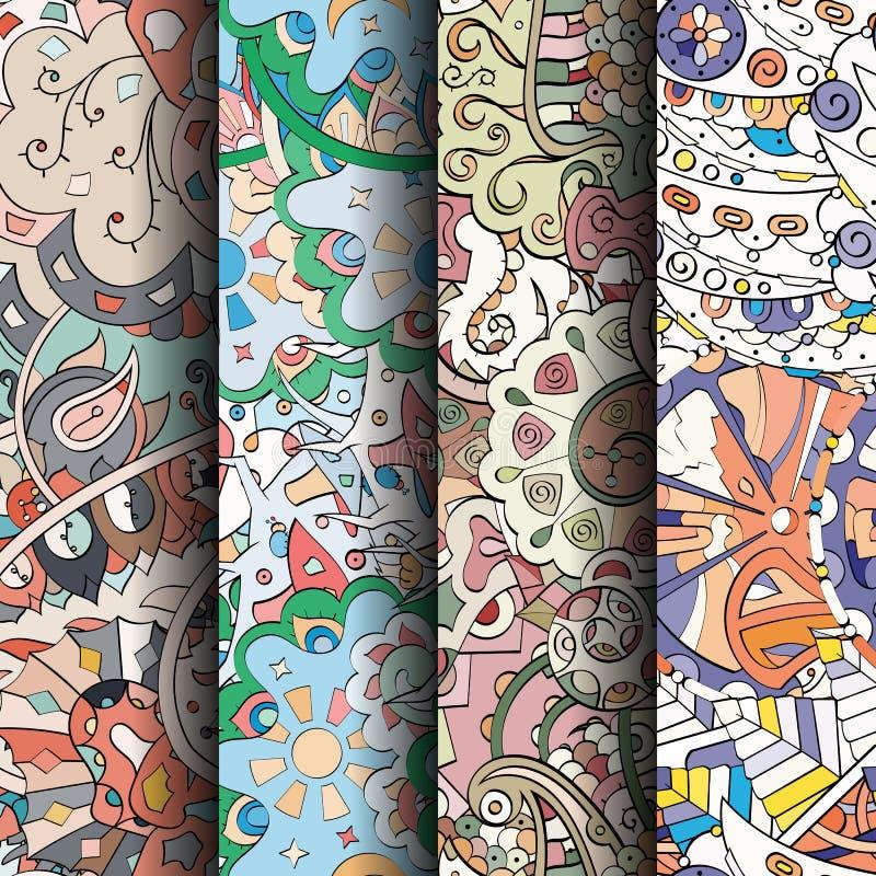 Σύνολο ζωηρόχρωμων άνευ ραφής σχεδίων tracery Κυρτά doodling υπόβαθρα για το κλωστοϋφαντουργικό προϊόν ή εκτύπωση με το mehndi κα διανυσματική απεικόνιση