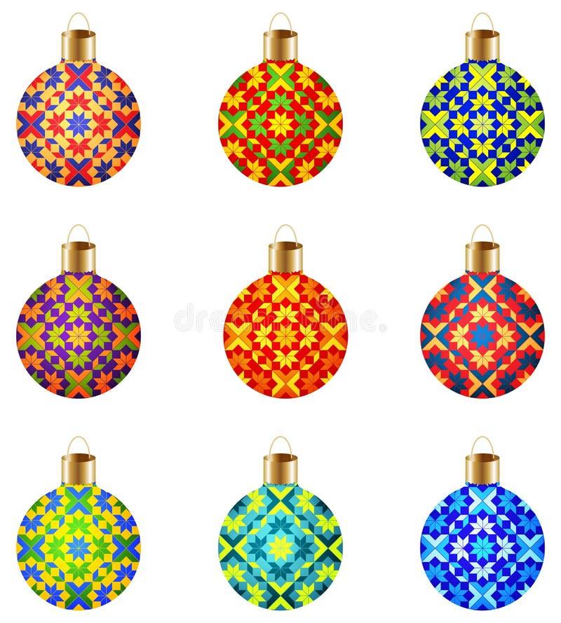 Σύνολο 9 ζωηρόχρωμων απομονωμένων σφαιρών Χριστουγέννων με τη μοντέρνη διακοσμητική διακόσμηση ελεύθερη απεικόνιση δικαιώματος