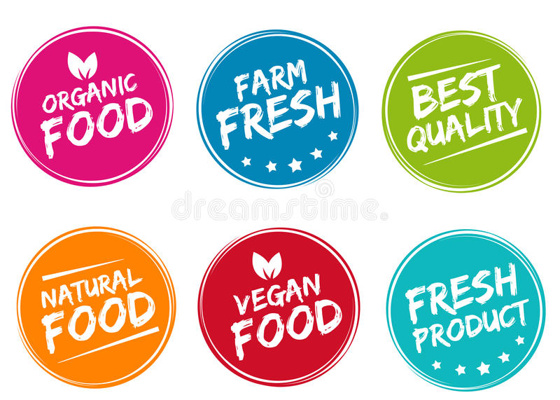 Σύνολο ζωηρόχρωμων ετικετών και διακριτικών για τα οργανικά, φυσικά, βιο και φιλικά προϊόντα eco ελεύθερη απεικόνιση δικαιώματος