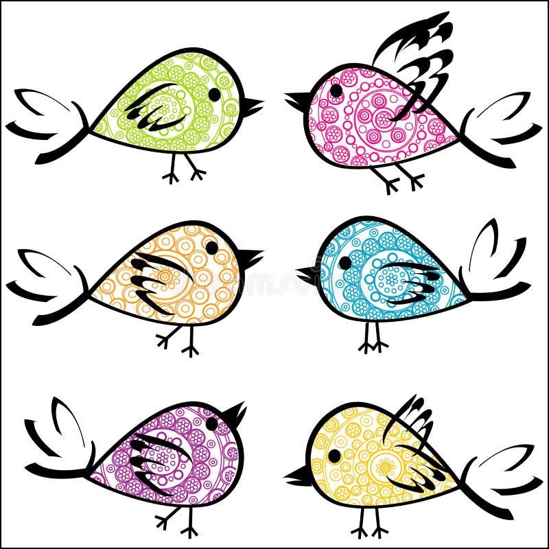 Σύνολο ζωηρόχρωμων διαμορφωμένων πουλιών διανυσματική απεικόνιση