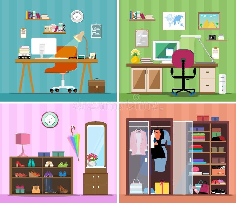 Σύνολο ζωηρόχρωμων διανυσματικών εσωτερικών δωματίων σπιτιών σχεδίου με τα εικονίδια επίπλων: θέση εργασίας με τον υπολογιστή, σύ διανυσματική απεικόνιση