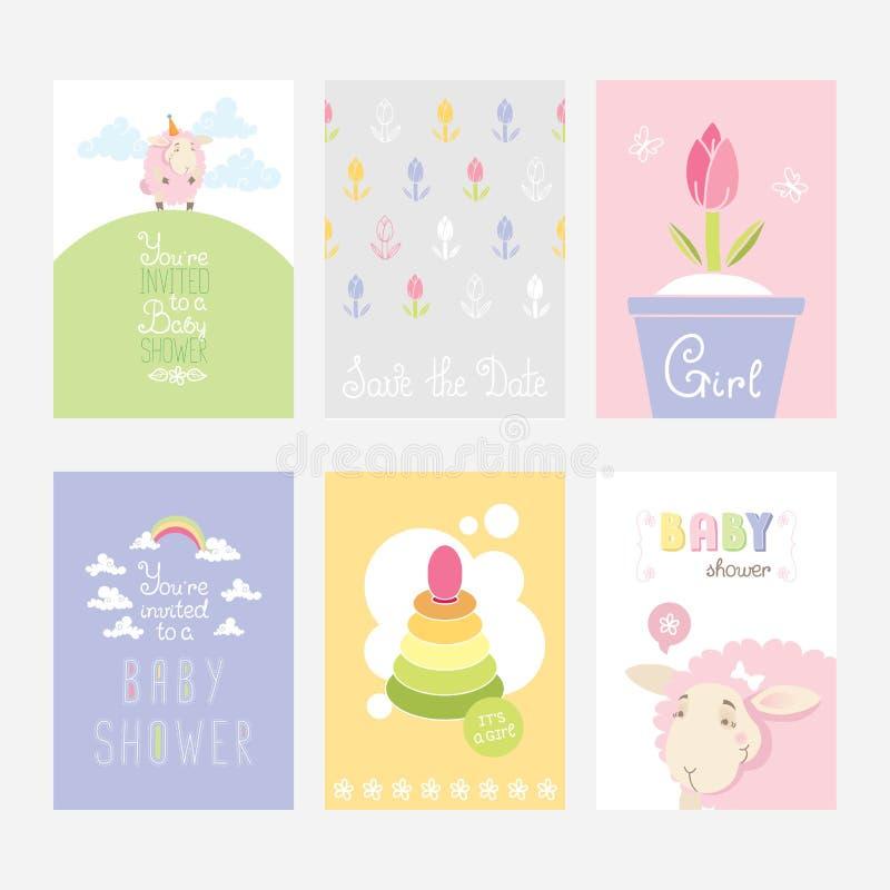 Σύνολο ζωηρόχρωμων καρτών για το σχέδιο γιορτών γενεθλίων κοριτσιών διανυσματική απεικόνιση