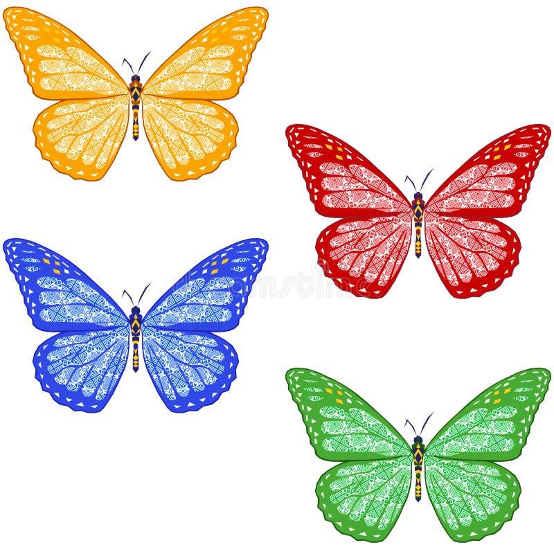 Σύνολο ζωηρόχρωμων κατασκευασμένων πεταλούδων στο άσπρο υπόβαθρο απομονωμένος ελεύθερη απεικόνιση δικαιώματος