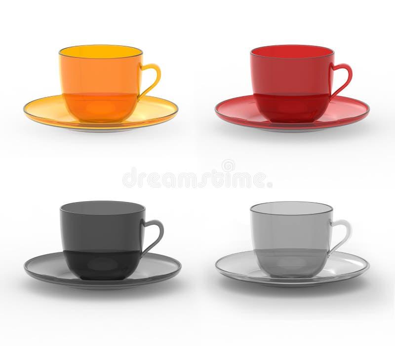 Σύνολο ζωηρόχρωμων κουπών με τα πιάτα διανυσματική απεικόνιση