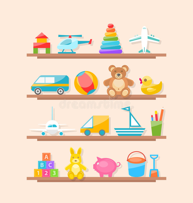 Σύνολο ζωηρόχρωμων παιχνιδιών παιδιών στο ράφι Χαρές μωρών κινούμενων σχεδίων απεικόνιση αποθεμάτων