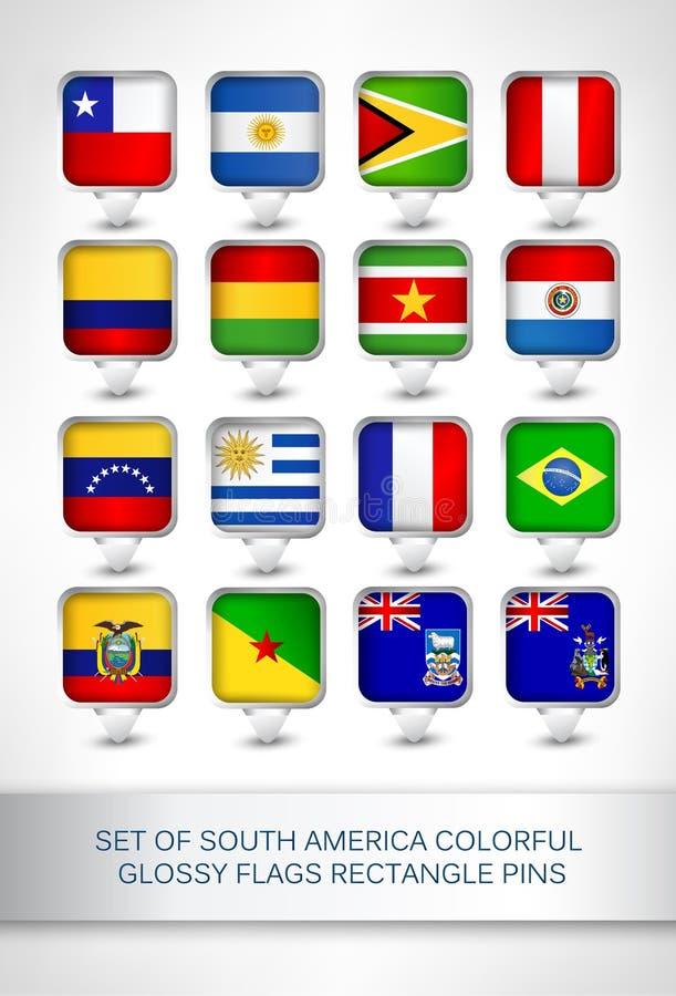 Σύνολο ζωηρόχρωμων στιλπνών καρφιτσών ορθογωνίων σημαιών της Νότιας Αμερικής ελεύθερη απεικόνιση δικαιώματος