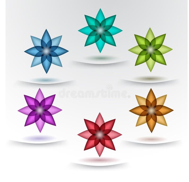 Σύνολο ζωηρόχρωμων σχεδίων λουλουδιών απεικόνιση αποθεμάτων
