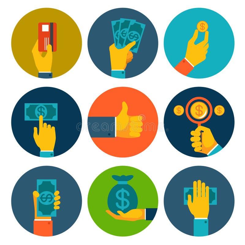 Σύνολο ζωηρόχρωμων χρημάτων στα εικονίδια χεριών ελεύθερη απεικόνιση δικαιώματος