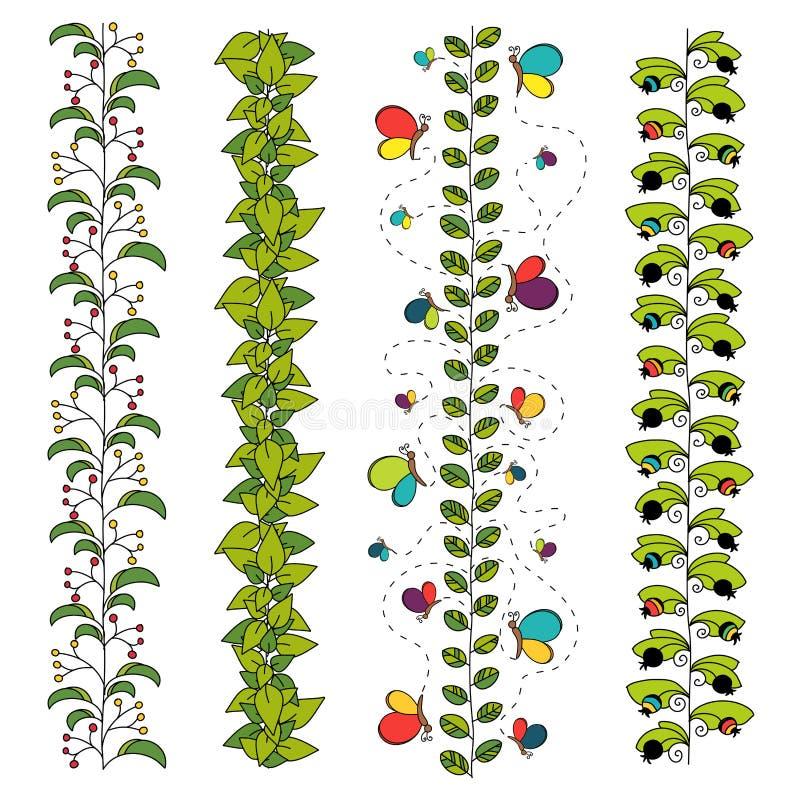 Σύνολο ζωηρόχρωμων floral βουρτσών ή συνόρων ελεύθερη απεικόνιση δικαιώματος