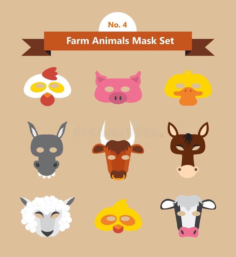 Σύνολο ζωικών μασκών για το κόμμα κοστουμιών ελεύθερη απεικόνιση δικαιώματος