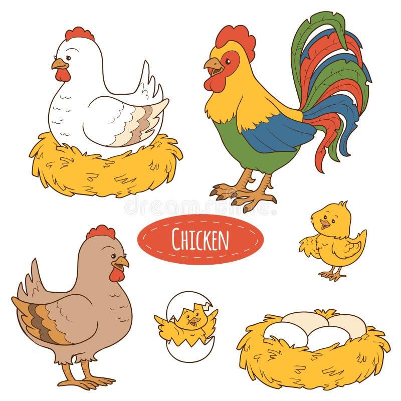 Σύνολο ζώων αγροκτημάτων και αντικειμένων, διανυσματικό οικογενειακό κοτόπουλο ελεύθερη απεικόνιση δικαιώματος