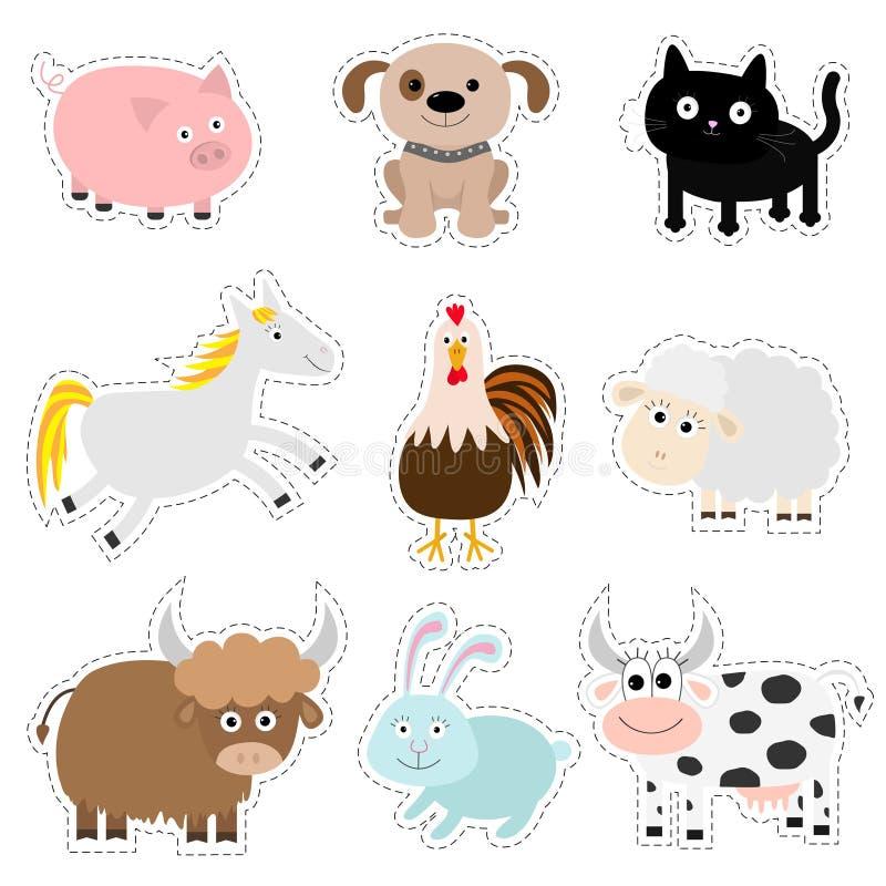Σύνολο ζώων αγροκτημάτων Χοίρος, σκυλί, γάτα, αγελάδα, κουνέλι, άλογο σκαφών, κόκκορας, συλλογή μωρών ταύρων Επίπεδο ύφος σχεδίου ελεύθερη απεικόνιση δικαιώματος