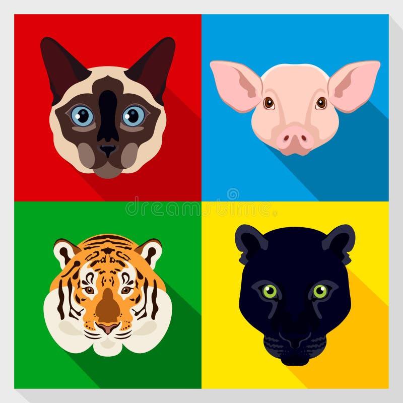 Σύνολο ζώων με το επίπεδο σχέδιο Συμμετρικά πορτρέτα των ζώων επίσης corel σύρετε το διάνυσμα απεικόνισης σιαμέζος, γάτα, πάνθηρα απεικόνιση αποθεμάτων