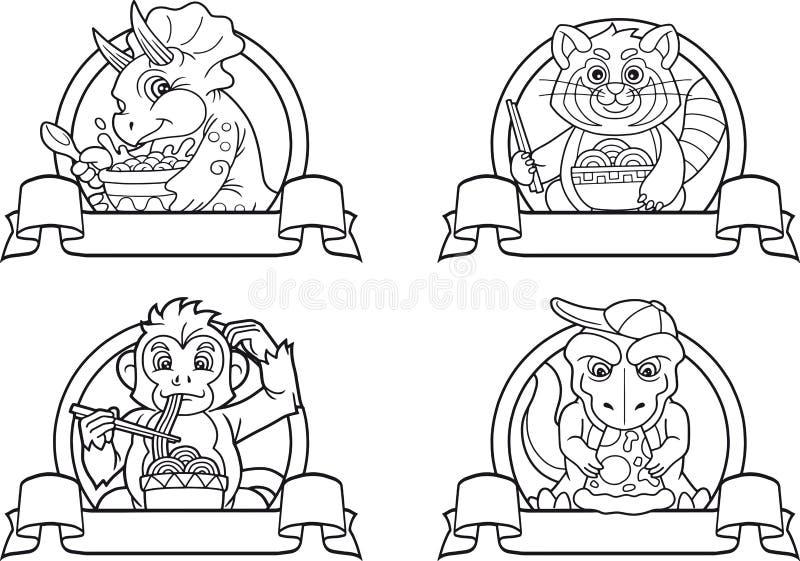 Σύνολο ζώων λογότυπων ελεύθερη απεικόνιση δικαιώματος