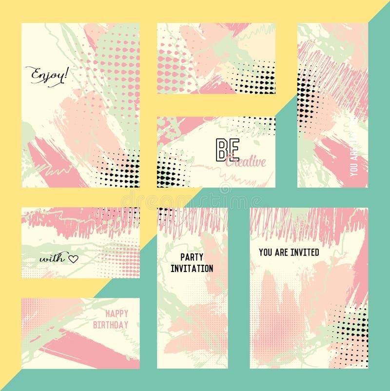 Σύνολο δημιουργικών καθολικών καρτών Γάμος, επέτειος, γενέθλια, ημέρα βαλεντίνων s, κόμμα Συρμένες χέρι συστάσεις Σχέδιο για διανυσματική απεικόνιση