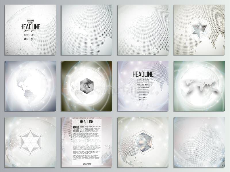 Σύνολο 12 δημιουργικών καρτών, τετραγωνικό πρότυπο φυλλάδιων ελεύθερη απεικόνιση δικαιώματος