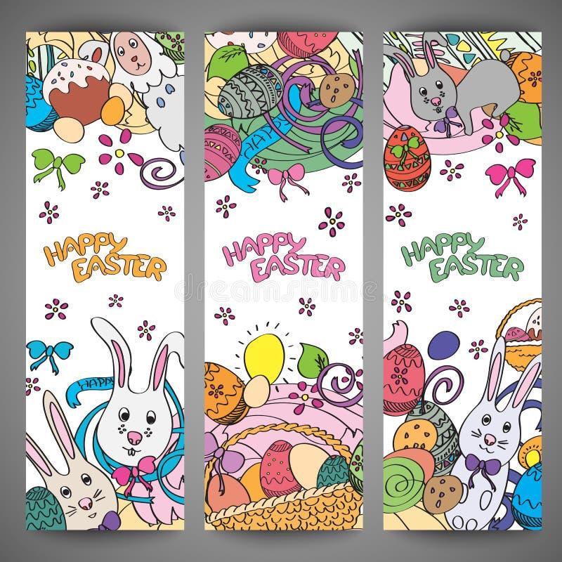 Σύνολο δημιουργικών πολυ διανυσματικών εμβλημάτων χρώματος για ευτυχές Πάσχα ελεύθερη απεικόνιση δικαιώματος