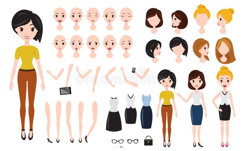 Σύνολο δημιουργιών χαρακτήρα γυναικών Γεμάτη αυτοπεποίθηση επιχειρηματίας, ελκυστικός βοηθητικός, αποτελεσματικός πωλητής, girlbo απεικόνιση αποθεμάτων