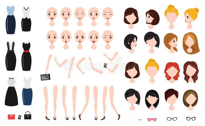 Σύνολο δημιουργιών χαρακτήρα γυναικών Γεμάτη αυτοπεποίθηση επιχειρηματίας, ελκυστικός βοηθός διανυσματική απεικόνιση