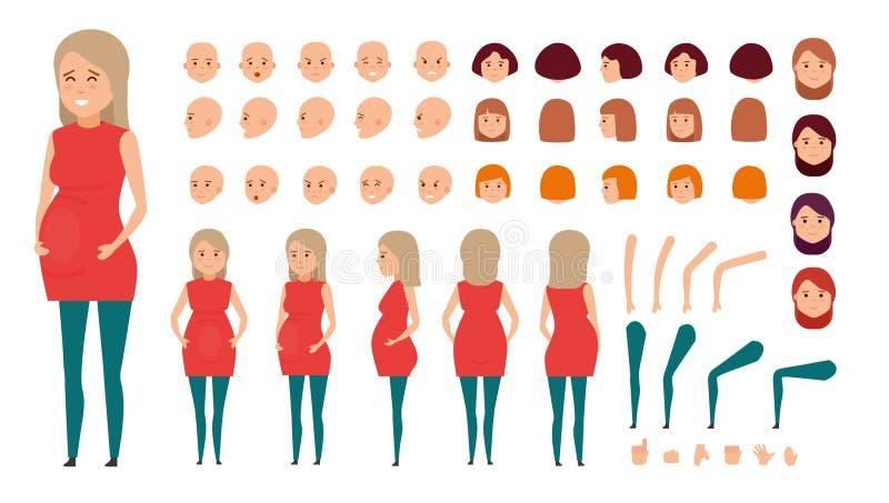 Σύνολο δημιουργιών χαρακτήρα γυναικών Διαφορετικό σύνολο εγκύων γυναικών ελεύθερη απεικόνιση δικαιώματος