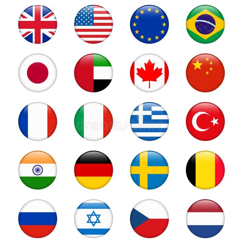 Σύνολο δημοφιλών σημαιών χωρών Στιλπνό στρογγυλό διανυσματικό σύνολο εικονιδίων απεικόνιση αποθεμάτων